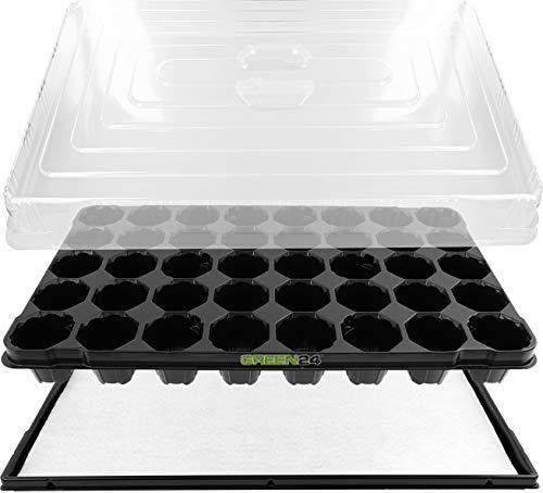 GREEN24 Anzuchthaus PROFI-40 Zimmer-Gewächshaus Hydroponik XL, automatische Bewässerung für die Anzucht – Profi Treibhaus mit Wanne + Kapillarsystem + QP Topfplatte + Haube