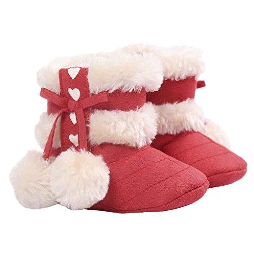 Yogogo Filles Bottes de neige - bébé - Semelles souples - Crib Chaussures - Bottes Toddler Pastèque rouge