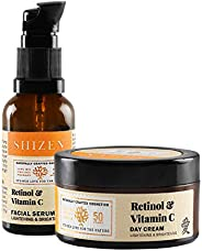 SHIZEN Retinol & Vitamin C Facial Serum 30 ml and Retinol & Vitamin C Day Cream 50gm / Non Greasy /Day