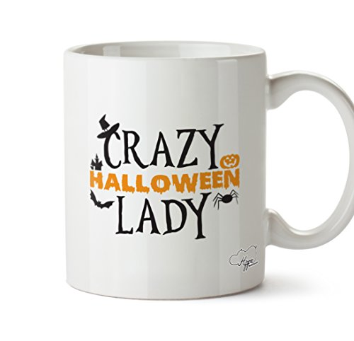 hippowarehouse Crazy Halloween Lady 283,5 Tasse, keramik, weiß, One Size - Nights Voodoo Halloween Horror