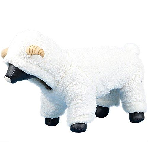 Queenmore Hund Kostüm, kaltem Wetter Warm Haustier Kleidung Hoodie Jumpsuit für Kleine Mittlere Große Hunde (Kaffee Elch, Grau Rubbit, Schaf weiß, 5Größen), L, weiß