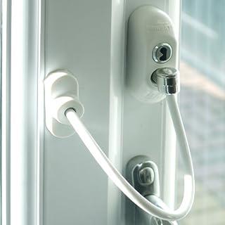 5x Weiß Max6mum Security Fenster & Türöffnungsbegrenzer, für Baby und Kind Sicherheit–mit stabilem Kabel und ist abschließbar