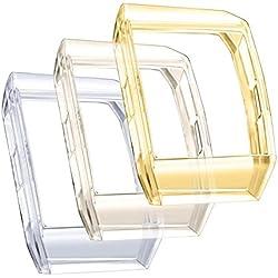 Funda Fitbit Ionic, 3 piezas TPU Funda Suave TPU Gel Ultra Fina Protección Silicona Protectora Funda Macro Case para Fitbit Ionic Accesorios Transparente Dorado Negro