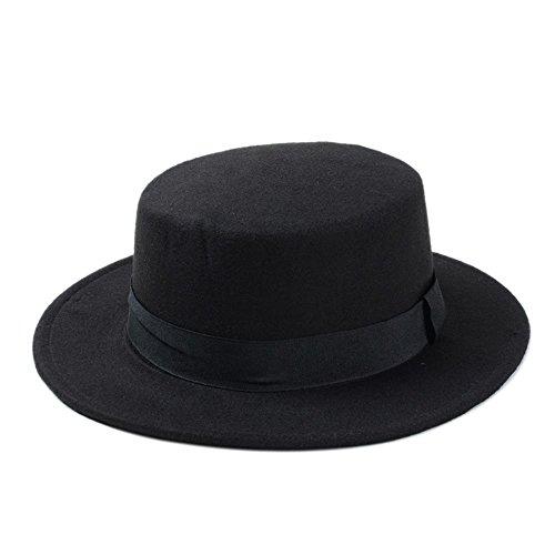 (Strandhut Boater Flachhut für Damen Filz breite Krempe Fedora Hut Laday Prok Pie Hats gao Shanshan Store, Schwarz, 55-58 cm)