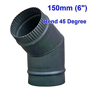 "Lincsfire 150mm 6"" Matt Black Chimney Stove Flue Pipe for Use with Wood Burning Or Multi Fuel Stoves - 5 Types"