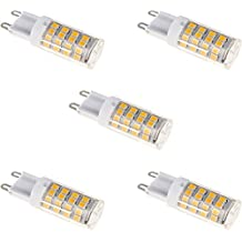 Zacro 5 Bombillas LED G9 de 6W Blanco Cálido 3000k,Lámparas Halógenas Equivalentes a 30W, AC 220-240V,51x SMD 2835 [Clase de Eficiencia Energética A++ [Clase de eficiencia energética A++]