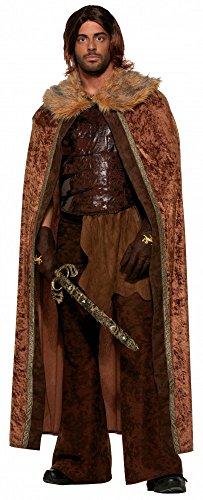 Mittelalter Umhang mit Pelzkragen für Herren Kostüm Ritter GoT WoW HdR LARP Mantel Cape, Farbe:Braun (Wow Halloween Kostüme)