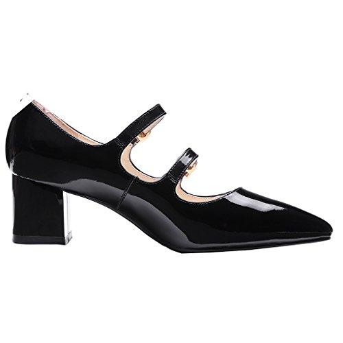 ENMAYER Femmes Mary Jane Bretelles en Cuir Ankle Strap Heel Office Lady Pumps Court Shoes Noir#369