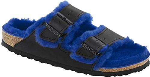 Birkenstock Slipper ''Arizona Fell'' aus Leder / Fell in Schwarz 42.0 EU S