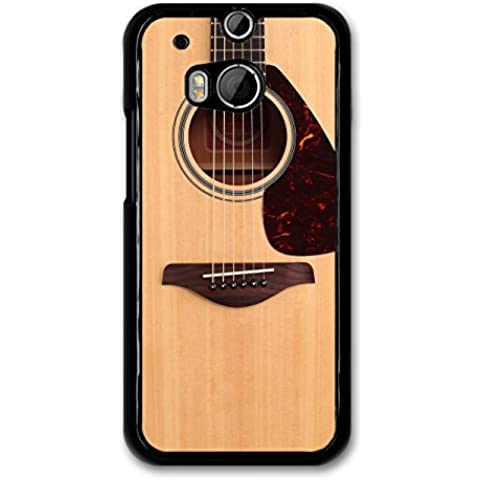 Cool Hipster Acoustic Guitar Music Design with Realistic Wood Effect case for HTC One M8