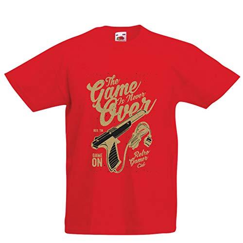 (lepni.me Kinder Jungen/Mädchen T-Shirt Retro-Videospielclub, das Spiel ist nie vorbei (14-15 Years Rot Mehrfarben))