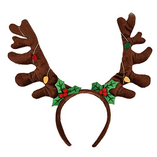 LAEMILIA Weihnachten Damen Haarreif Rentier Kostüm Haareschmuck Stirnband Kopfbügel Weihnachtsparty Deko (A) (Damen Rentier Kostüme)
