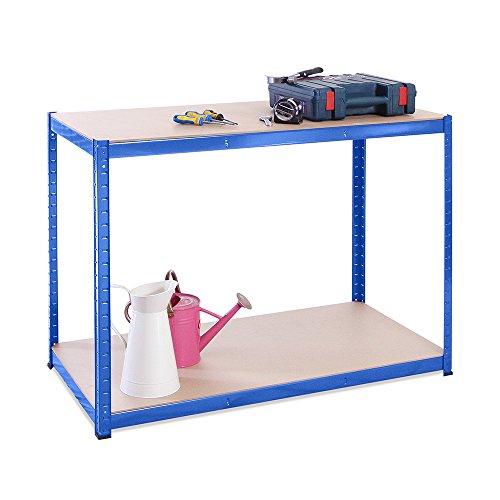 90 cm x 120 cm x 60 cm, blau 2 Etagen 300 kg pro Regal, 600 kg Kapazität Garage Werkbank, 5 Jahre Garantie