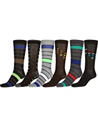 Sakkas Men's Crew High Patterned Colorful Design Dress Socks Asst Value 6-Pack