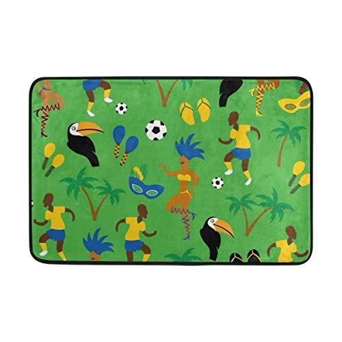 Miedhki Nicht Rutschfeste Fußmatten Teppiche Afrika Sport Mann mit Fußball Weichschaum Druck für Wohnzimmer Kinder Schlafzimmer Badezimmer Türmatten 23,6x15,7 Zoll