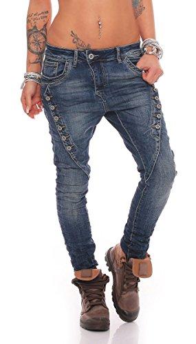 Fashion4Young MOZZAAR Damen Jeans Röhrenjeans Haremshose Hüftjeans Baggy Haremsjeans Boyfriend (L=40, 10784-Dunkelblau)