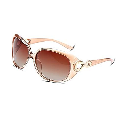 Hmilydyk Femme Mode Luxe Lunettes de soleil polarisées surdimensionné Résine Miroir UV400Lunettes Eyewear avec étui, Orange Frame Brown Lens