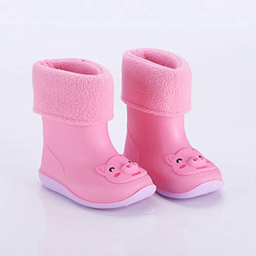Ewendy Toddler Waterproof Non-Slip Shoes, Infant Kids PVC Rain Boots Soft Hand Feeling&No Any Harm to Baby