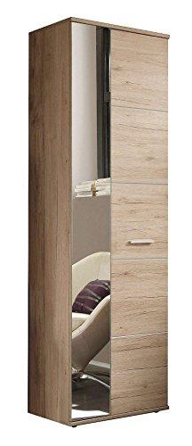 Avanti trendstore - genova - armadio da guardaroba con specchio ed ante a battente in laminato di quercia san remo chiaro, dimensioni: lap 64x198x36 cm