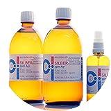 PureSilverH2O 1100ml Kolloidales Silber (2X 500ml/10ppm) + Spray (100ml/10ppm) Reinheit & Qualität seit 2012