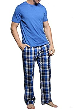 Amabubblezing Camiseta de Manga Larga con Cuello Redondo de Manga Corta para Hombres y Pijama con pantalón de...