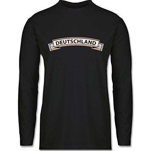 EM 2016 - Frankreich - Deutschland Fanschal - Longsleeve / langärmeliges T-Shirt für Herren Schwarz