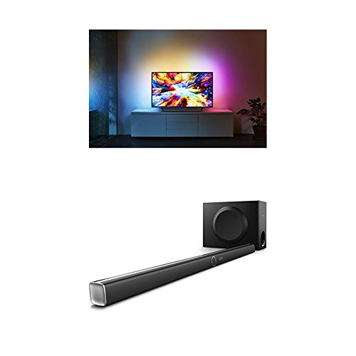 Philips 65PUS7303/12 55-Inch 4K Ultra HD Android Smart TV with HDR Plus, 3-sided Ambilight and Philips HTL5160B/12 3.1 Streaming-Soundbar
