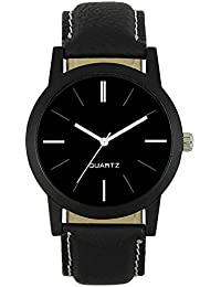 Acalesvara Black Leather Analog Watch For Men And Boys