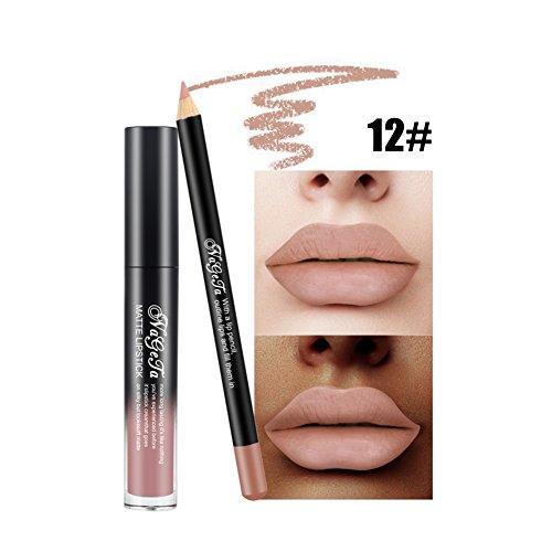 Crayons à lèvres et ensemble de rouge à lèvres, Velvet Matte Long Lasting Lip Makeup, stylo à lèvres imperméable à l'eau Lipliner