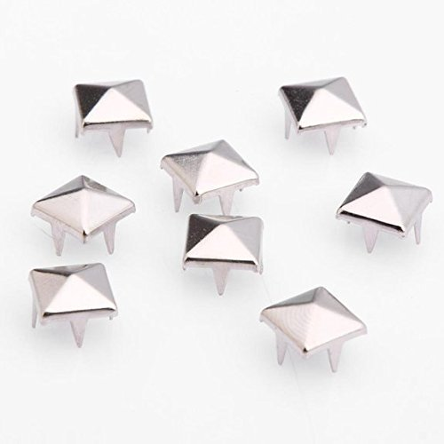 Forever Yung 200pcs Silver Plated Pyramid Stud Punk Style Rivets 8mm for DIY Decoration by Forever Yung