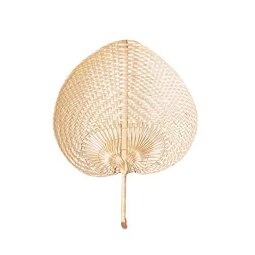 eginvic DIY Hand Fächer Bambus Natürliche Handgemachte Chinesische Pu Fan DIY Herzförmige Bambus Gewebt Fan Sommer Lüfter Für Den Sommer Anlässen, Gartenfeste