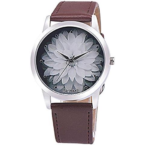Sannysis Cuero Flor Band cuarzo analógico Dial reloj de pulsera