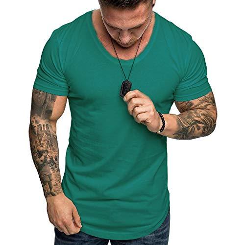 Crazboy Mode Herren Sommer Slim Fit T-Shirt Beiläufig Oansatz Kurzarm Top Bluse(Small,Grün)