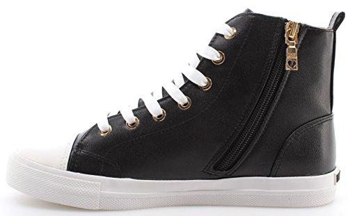 Scarpe Donna Sneakers LOVE MOSCHINO High Top Vulcanized Nappa PU Nero Ric Black Nero