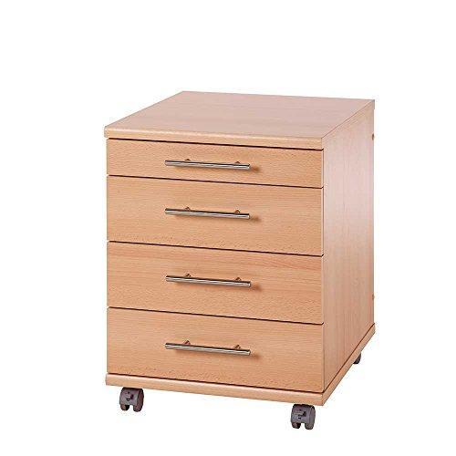 Pharao24 Schreibtisch Rollcontainer mit 3 Schubladen Buche