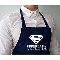"""Delantal personalizado para papá .con la frase:"""" Superpapá de (nombre)"""". Varios colores. Regalo/Bodas/San Valentín/Cumpleaños/El/Aniversario"""