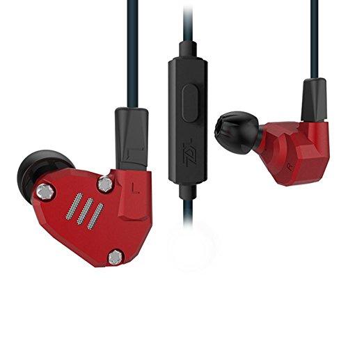 Everpert KZ ZS6huit pilote Écouteurs dynamique dans Ear HiFi casque stéréo, Red, MIC
