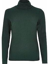 4a619818cb5 River Island Ex Women s Dark Green Ribbed Roll Neck Jumper Sizes 6-16 (G3