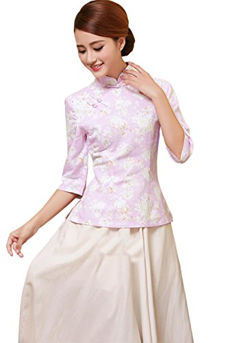YueLian Damen Frauen Herbst Halfärmlig Qipao Stil Bluse mit druckte Muster Farbe 3