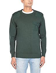 Flying Machine Mens Round Neck Cotton Sweater (FMSW0211_Black Forest_M)