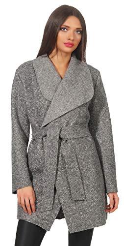 Mississhop 292 Damen eleganter Wollmantel Cardigan Trenchcoat mit Gürtel Coat OneSize 36 38 40 42 Grau - Rack Band Coat