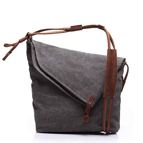 Umhängetasche Canvas Umhängetasche Handtaschen Lässige Messenger Bags Slouch Bag Handtasche für Frauen Klappe Rucksack Reisetaschen für Mann und Frau Leichte und große Schultertasche(Grau)