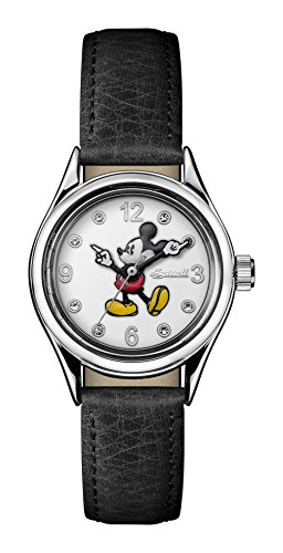 Ingersoll Disney Women\'s Union Quartz Watch with Weiß Dial andSchwarz Leather Strap ID00902