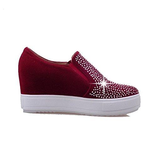 AllhqFashion Damen Hoher Absatz Nubukleder Eingelegt Rund Zehe Pumps Schuhe Rot