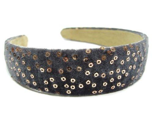 rougecaramel - accessoires cheveux - Serre tête/headband large velours - gris