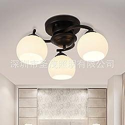 GK-Semplice ed elegante soggiorno è accogliente e romantica camera da letto marrone chiaro off scale corridoi luce nordica americano di ferro in vetro a tre colori di luce,3 head diameter 50cm