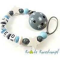 Schnullerkette mit Name für Jungen mit Sternen in blau, weiss, grau / anthrazit