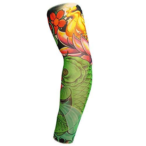 5er-Pack Armstulpen, Tattoo-Ärmel für Männer, Frauen, gefälschte Piercings, temporäre Tattoos, Ärmel vertuschen, das Mädchen mit dem Drachen-Tattoo