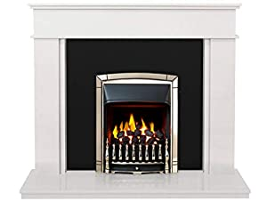 The Portland in Sparkly White & Granite with Valor Dream Convector Gas Fire in Pale Gold, 54 Inch