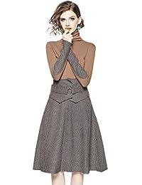 6c8e5a09164d LAI MENG Damen Vintage Kleid Set Hochgeschlossen Einfarbig Oberteil + Midi  Rock Sets für Herbst Winter